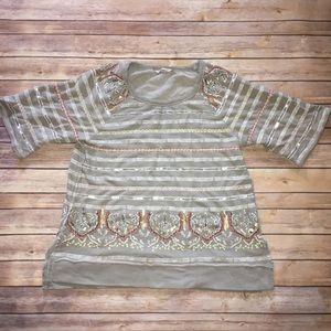 Soft surroundings beaded tunic sweatshirt